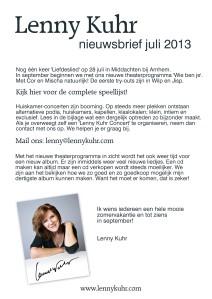Nieuwsbrief juli 2013
