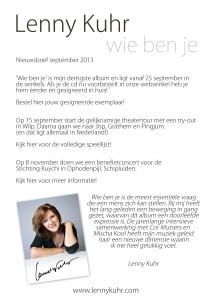 Nieuwsbrief Lenny Kuhr september 2013